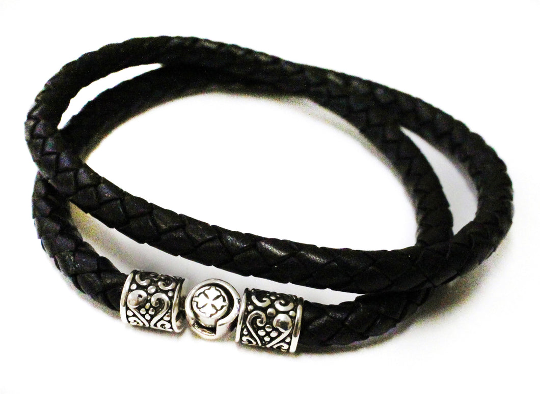 Leather Necklace/Bracelet - necklace - KIR Collection - designer sterling silver jewelry