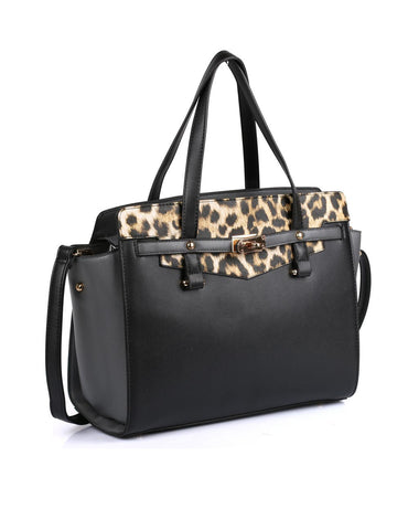 Julie Women's Satchel Bag Black Leopard