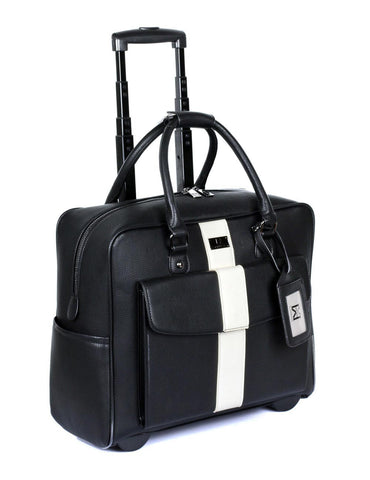 Travel Rolling Carry-on Luggage Black White Stripe