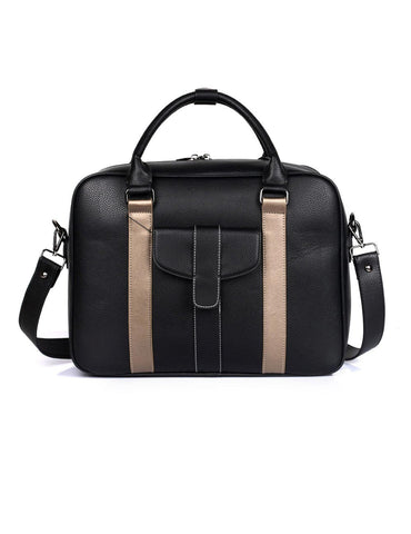 Men's Professional & Travel Briefcase Black Bronze Stripe