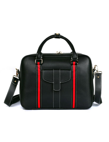Men's Professional & Travel Briefcase Black Red Stripe