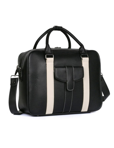 Men's Professional & Travel Briefcase Black White Stripe