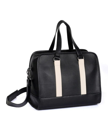 Men's Professional & Travel Duffel Bag Black White Stripe