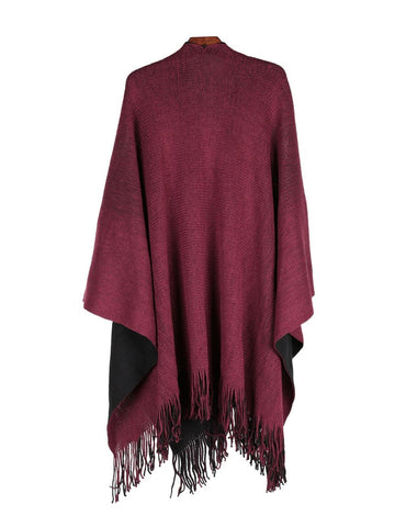 Women's Reversible Knit Poncho Shawl Burgundy Black
