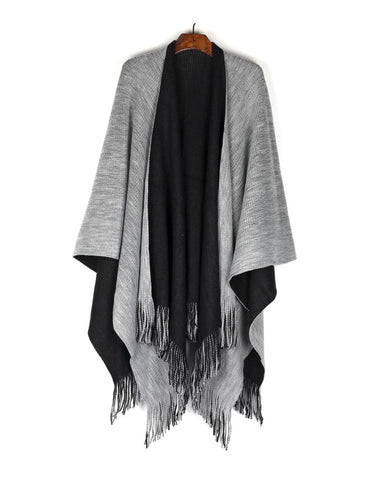 Women's Reversible Knit Poncho Shawl Grey Black