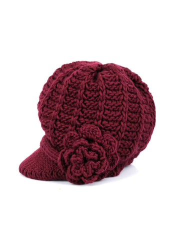 Women's Retro Knit Hat with Floral Embellishment Burgundy