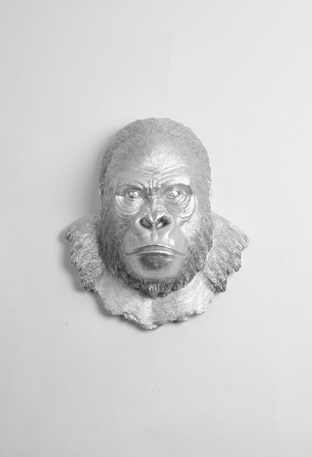 Silver Gorilla Ape Head Wall Decor