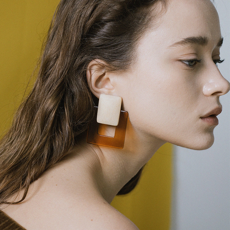 Clear Square Earrings by Baebae | Teel Yes
