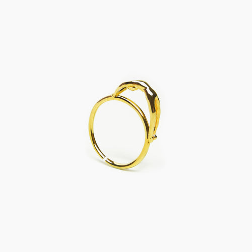 Cool Ring with Human Figure, 18K Gold or White Gold Over Silver - Teel Yes