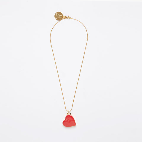 Single Heart Necklace - White