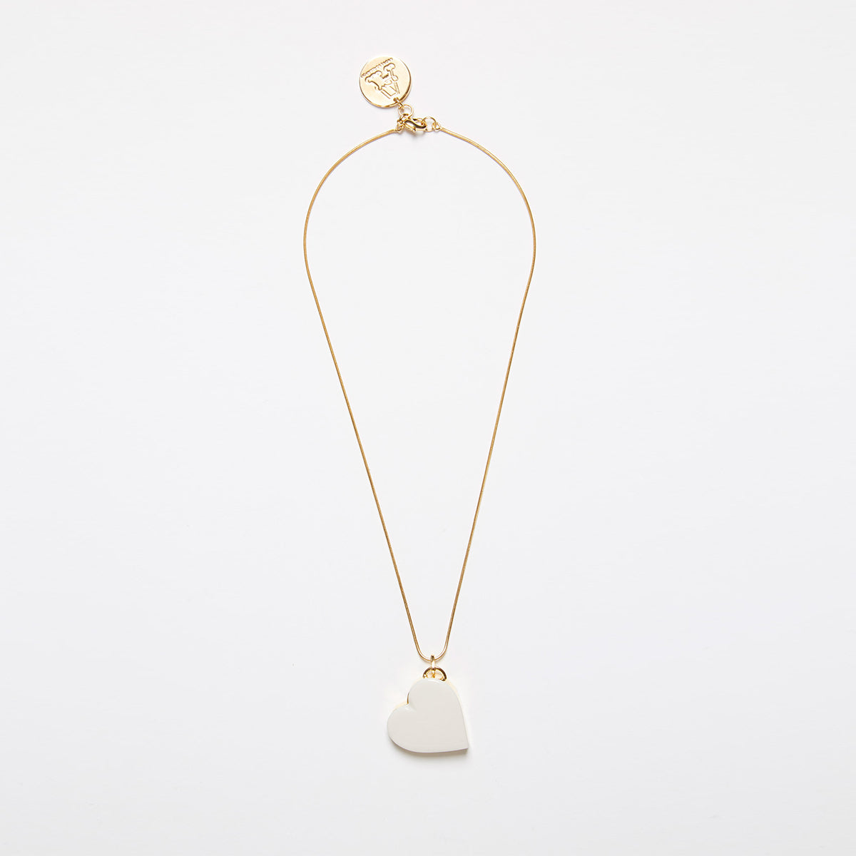 Single Heart Necklace (White) by Andres Gallardo - Teel Yes