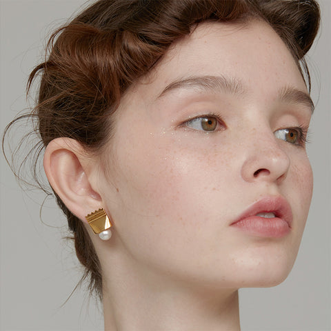 Clear Square Earrings - Brown