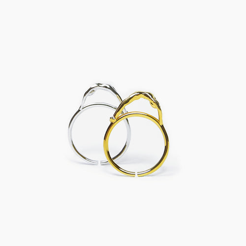 Yeah Jewelry - 18K Gold or White Gold Over Silver Cool Ring with Human Figure - Teel Yes