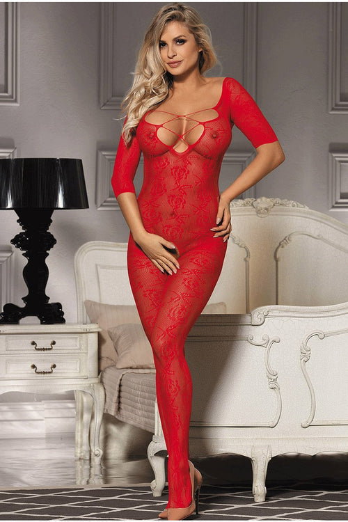 Red Lace up Bust bodystocking