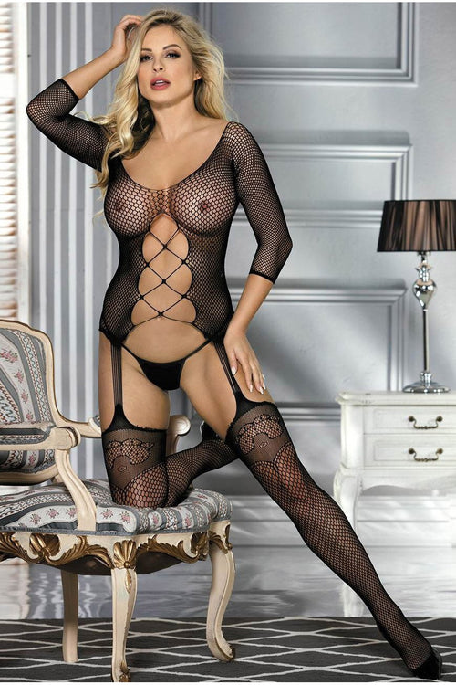 Black Fishnet Bodystocking - PureDiva