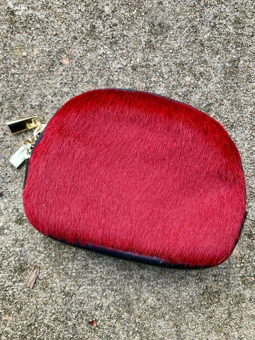 RED COWHIDE MAKE-UP BAG