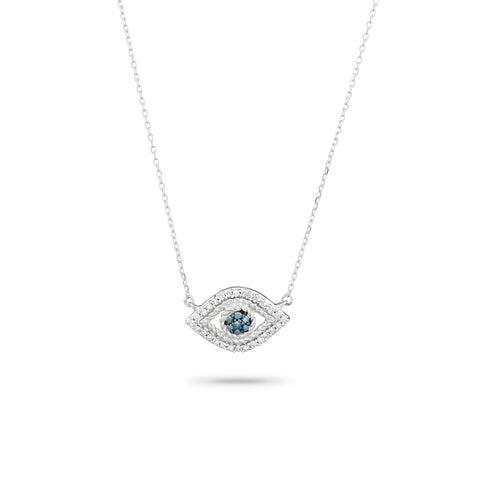 Tiny Pavé Evil Eye Necklace