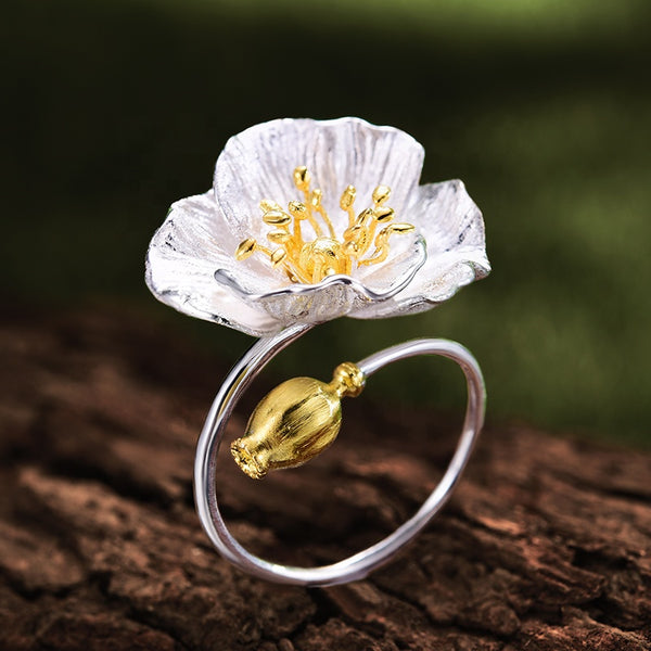 Blooming Poppies Flower Rings - Sterling Silver S925, Gold