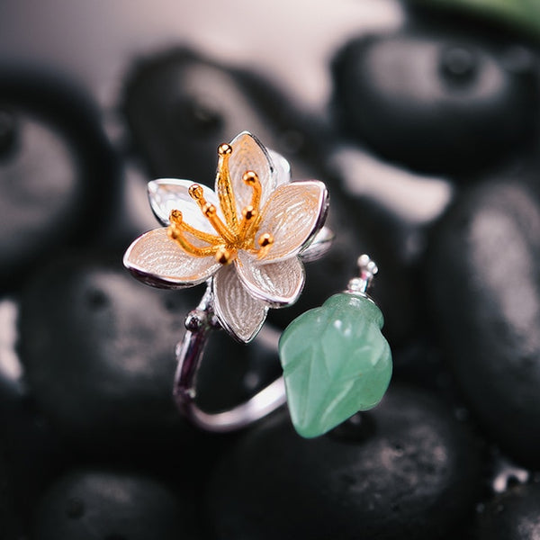 Natural Aventurine Gemstone Flower Ring