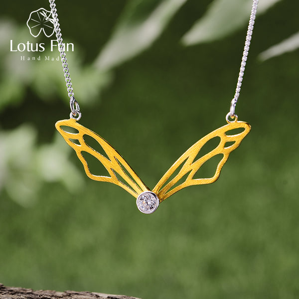 Handmade Designer Hollow Butterfly Wings Pendant Necklace