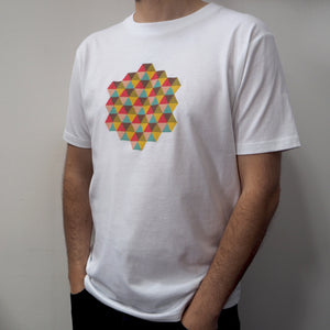 Ethical White T-Shirt with Kaleidoscopic Triangle Design Mens/Unisex - bright stem