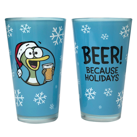 """BEER! Because Holidays"" Pint Glass"