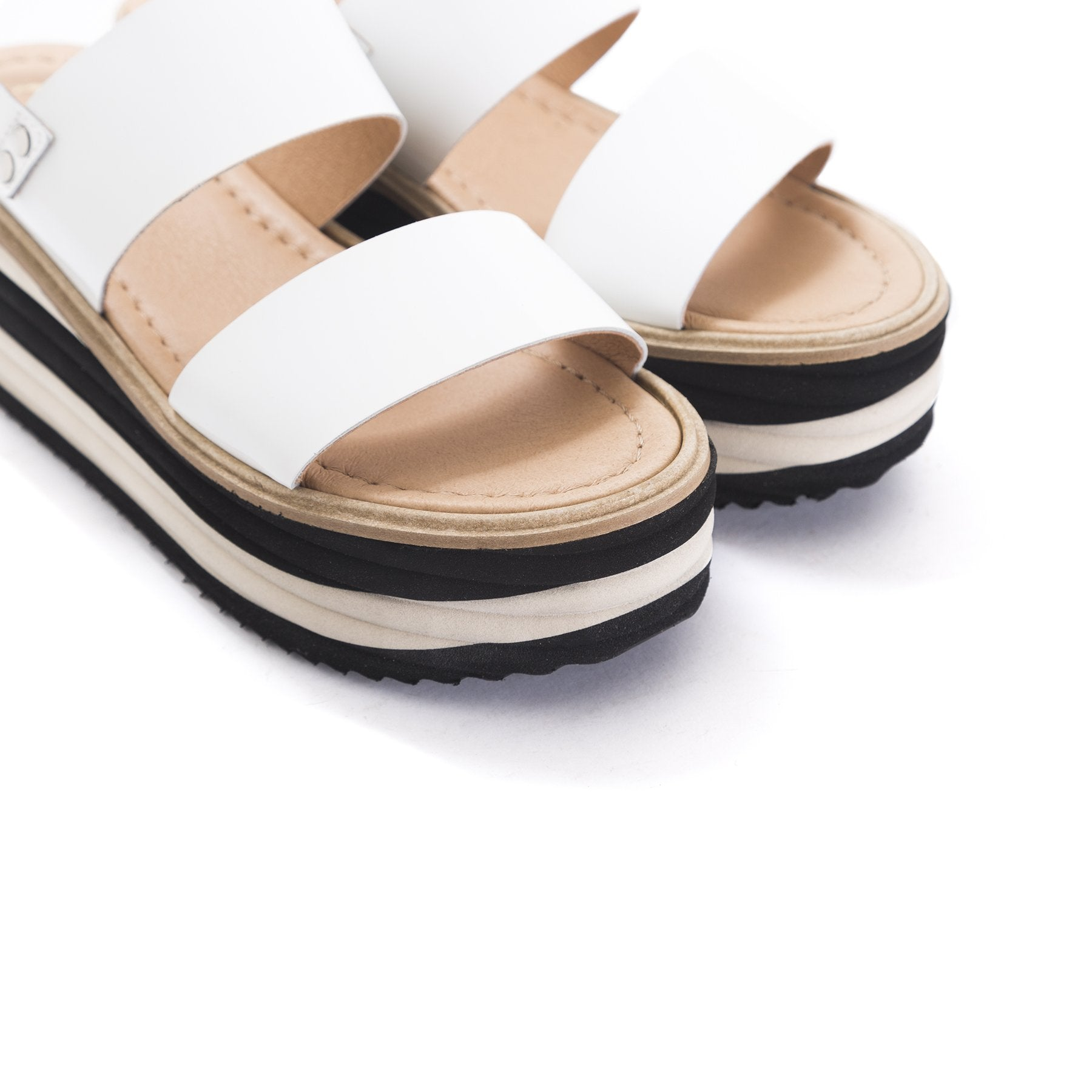 Lysan White Naplack Sandals