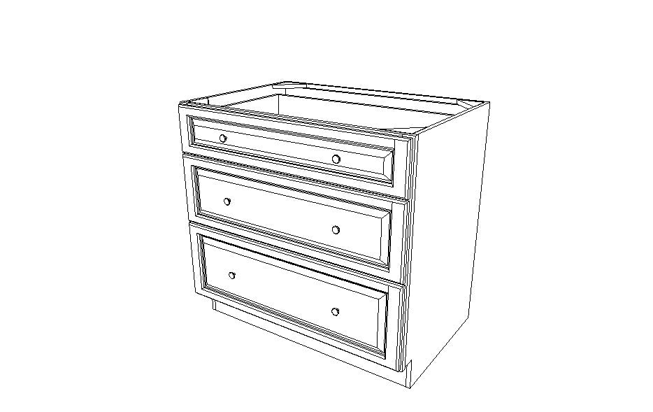DB36(3) Drawer Base Cabinets Sienna Rope (MR)