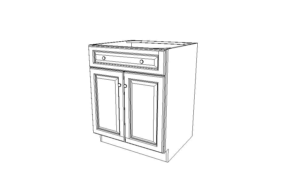 SB27B Sink Base Cabinet Gray Shaker (AG)