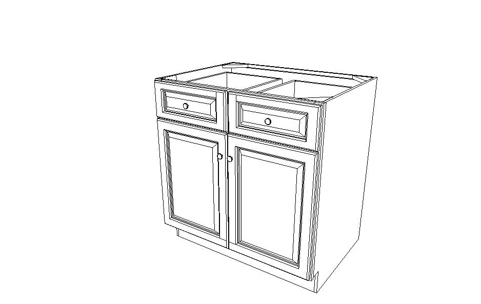 B36B Base Double Door Cabinet Sienna Rope (MR)
