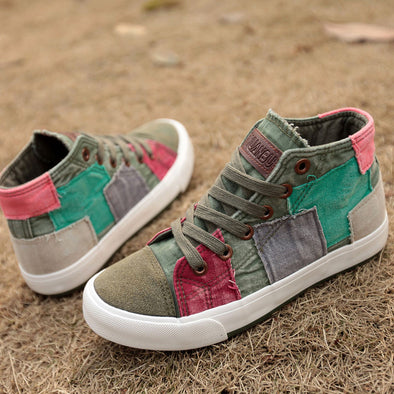 Women's High-Top Patchwork Casual Sneakers