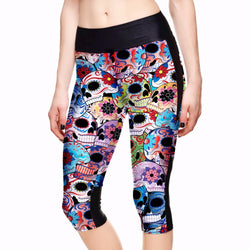Skull Yoga Capri Leggings