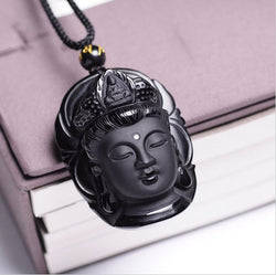 Black Obsidian Buddha head pendant necklace