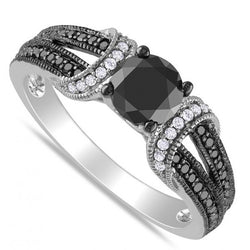 925 Sterling Silver 0.5 CT Elegant Black Diamond & White Gold Ring