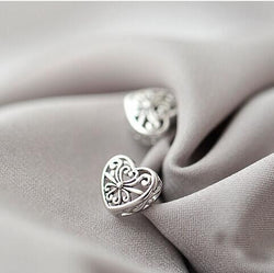 925 Sterling Silver Hollow Heart Earrings