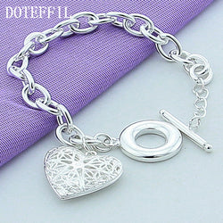925 Sterling Silver Hollow Heart Bracelet