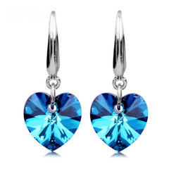925 Sterling Silver Heart of the Ocean Blue Sapphire Earrings