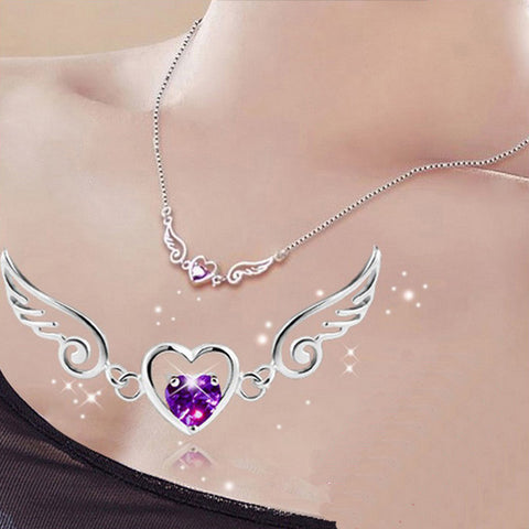 Angel Wing Love Heart Necklace