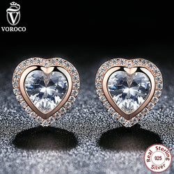 925 Sterling Silver Crystal Heart & Rose Gold Stud Earrings