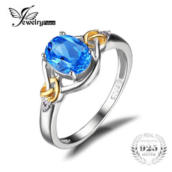925 Sterling Silver 1.5ct Natural Blue Topaz & 18K Gold Ring