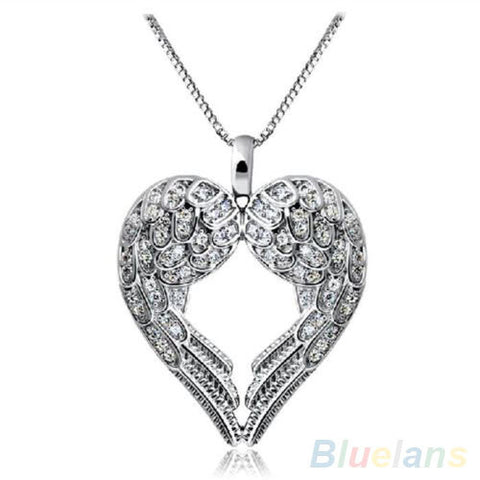 Delicate Angel Wing Heart Pendant Necklace