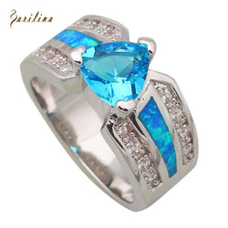 925 Sterling Silver Blue Fire Opal Inlay & Blue Topaz Center Stone