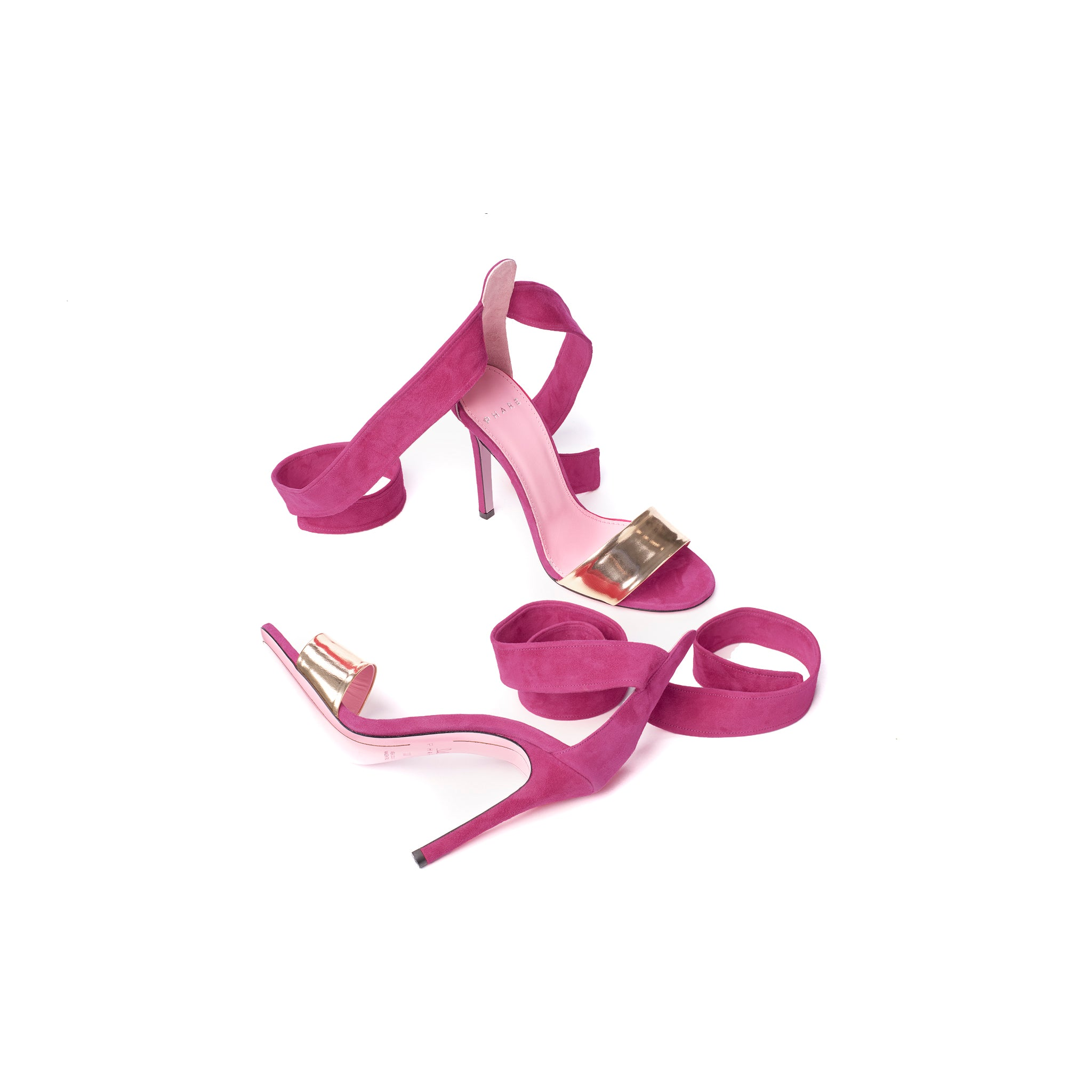 Phare Ankle tie stiletto in azalea suede sole view