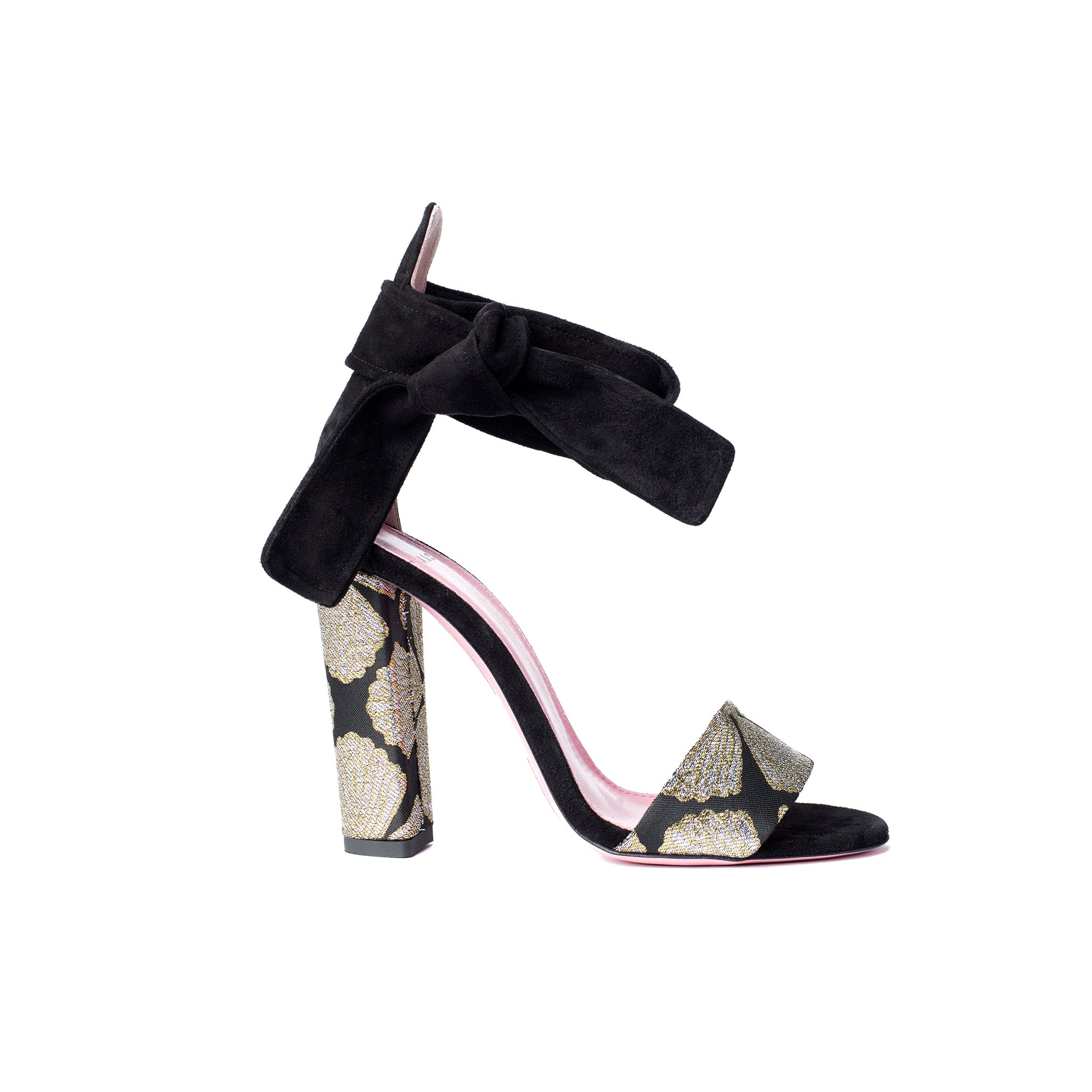 Phare Ankle tie block heel with metallic brocade heel and black suede