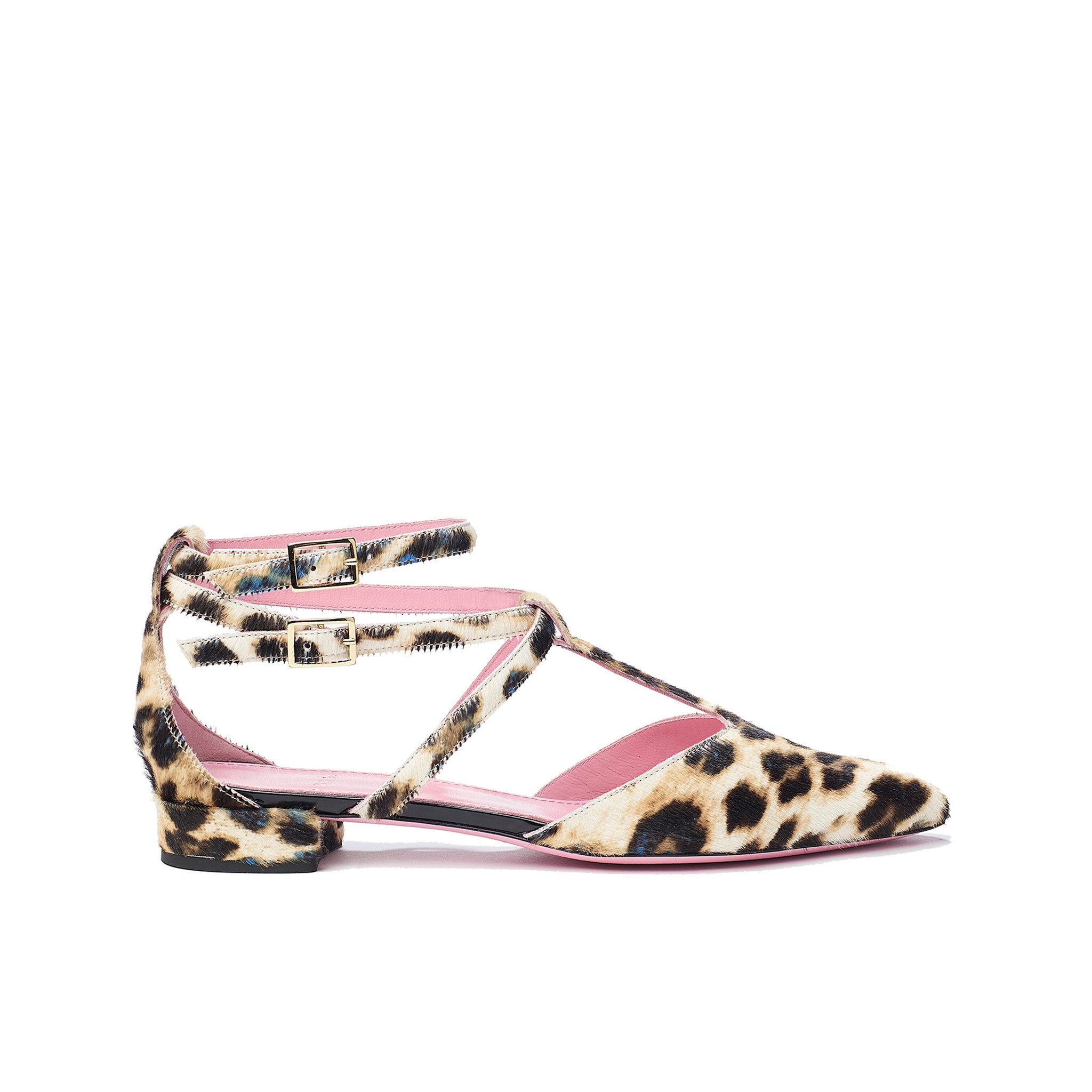 Phare ankle strap pointed flat in leopard pony hair