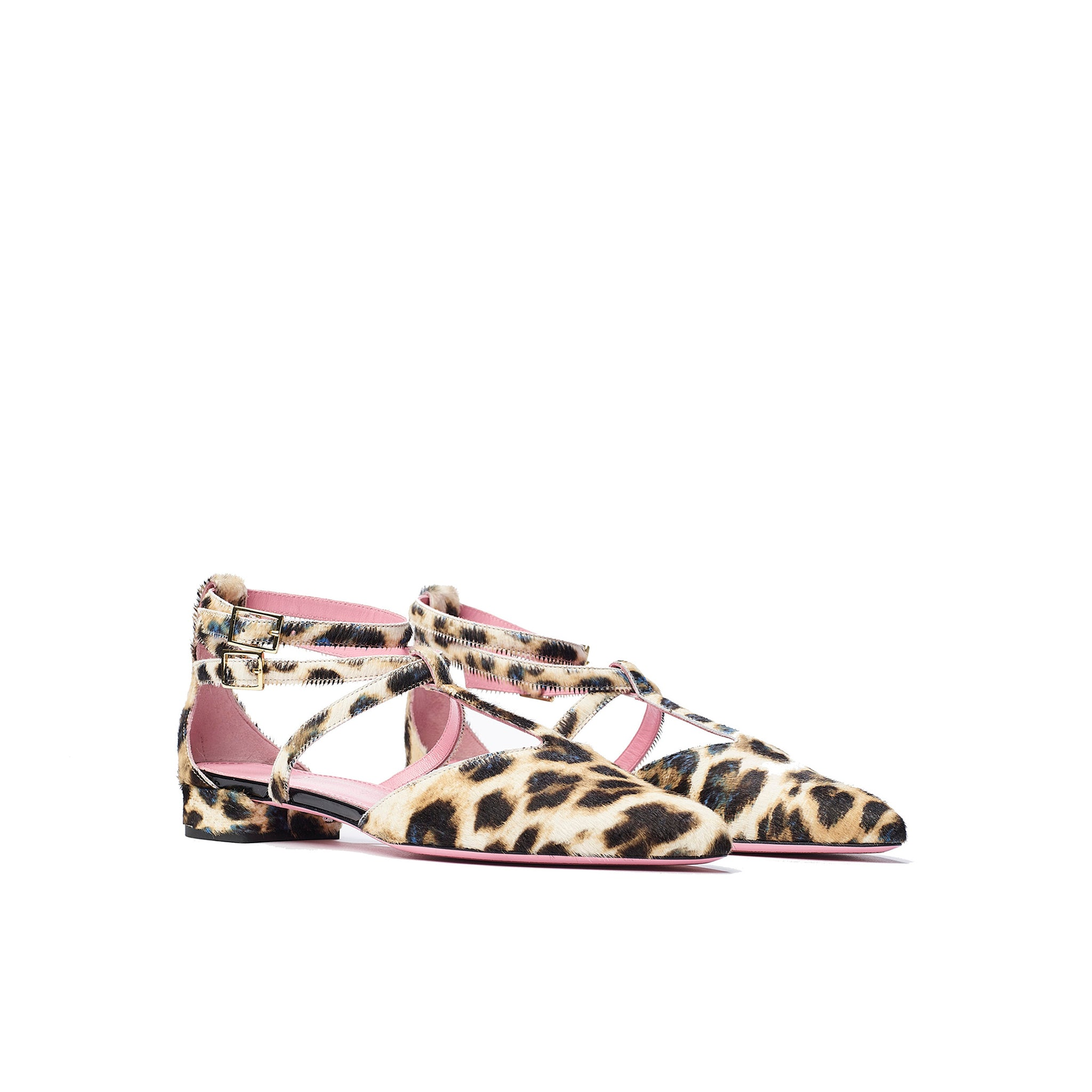 Phare ankle strap pointed flat in leopard pony hair  3/4 view