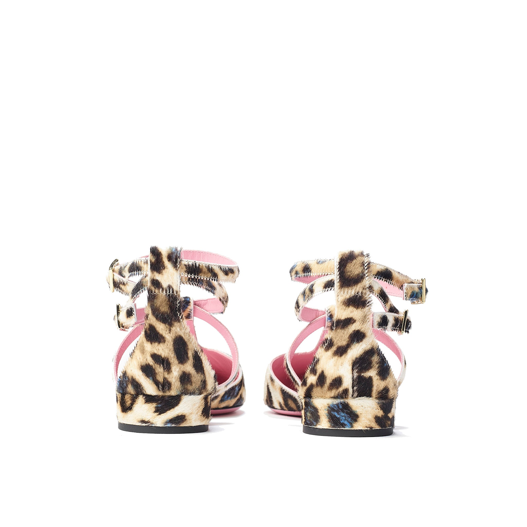 Phare ankle strap pointed flat in leopard pony hair  back view
