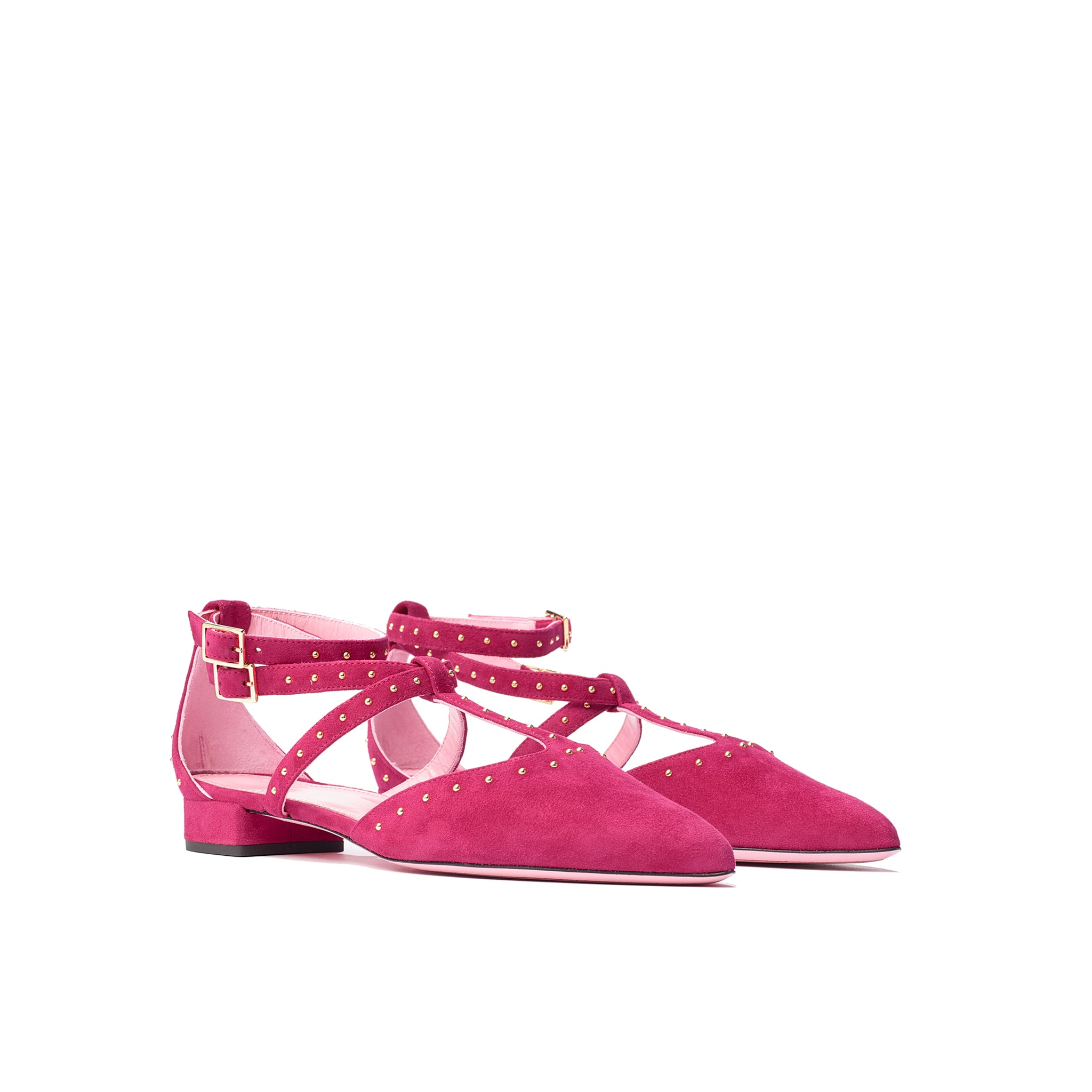 Phare Studded pointed flat in azalea suede with gold studs 3/4 view