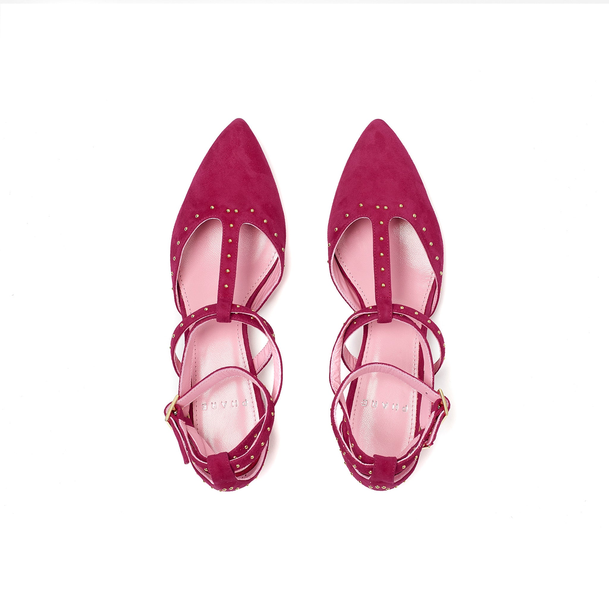 Phare Studded pointed flat in azalea suede with gold studs top view