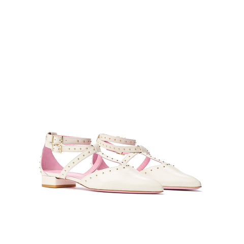 Phare Studded pointed flat in cream with gold studs 3/4 view